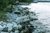 Used Car Tires Remained In Nature. The Old Unnecessary Tire Of Car Remained In The Water. The Proble poster
