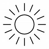 Sun Thin Line Icon. Shining Sun Vector Illustration Isolated On White. Sun And Rays Outline Style De poster