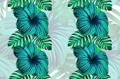 Tropical Pattern. Green Blue Exotic Summer Flower Vector Background. Beauty Fasion Monstera, Palm Le poster