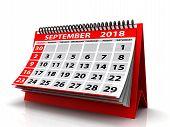 September 2018 Calendar. Isolated On White Background. 3d Illustration poster