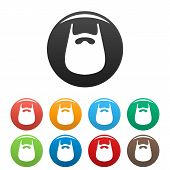 Smooth Beard Icon. Simple Illustration Of Smooth Beard Icons Set Color Isolated On White poster