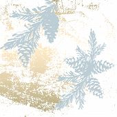 Chic Winter Pastel Gold Print Pine Braches Botany Design poster