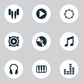 Audio Icons Set With Note, Vinyl, Mixer And Other Timbrel Elements. Isolated Vector Illustration Aud poster