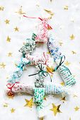 Handcrafted Sachets With Dried Herbs Set As Christmas Tree poster