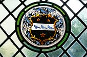 stock photo of stained glass  - Leaded stain glass window - JPG