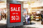 Big Sale 50% Mock Up Advertise Billboard Or Advertising Light Box In Department Store Shopping Mall  poster