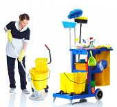 stock photo of janitor  - Cleaner maid woman with janitor cart washing floor - JPG