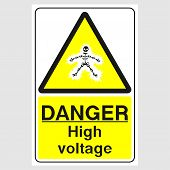 Plate: danger. High Voltage Sign. Sign: danger. High Voltage Sign On A Gray Background poster