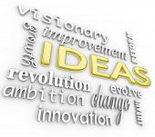 A background of 3d words related to ideas and innovation - including ambition, revolution, visionary