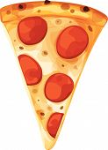 Single Classic Pepperoni Pizza Slice. Vertically Oriented. Isolated Vector Illustration. poster