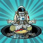 Music For Meditation And Yoga. Astronaut Meditates. Pop Art Retro Vector Illustration Vintage Kitsch poster