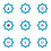 Religion Icons Colored Set With Masjid, Arabian, Board And Other Mosque Elements. Isolated Vector Il poster