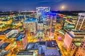 Orlando, Florida, USA aerial cityscape towards Lake Eola at dusk. poster