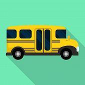 Side Of Mini School Bus Icon. Flat Illustration Of Side Of Mini School Bus Vector Icon For Web Desig poster