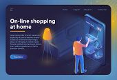 Online Shopping At Home. Ecommerce Sales, Online Shopping, Digital Marketing. Sale, Consumerism Conc poster