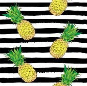 Vector Hand Drawn Abstract Tropical Seamless Pattern Of Exotic Fruit Pineapple On Black Strips. Anan poster