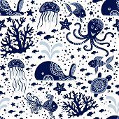 Seamless Pattern With Sea Underwater Animals. Cute Cartoon Jellyfish, Octopus, Starfish And Turtles. poster