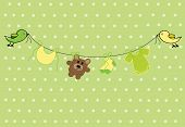 pic of baby-boy  - Green and yellow neutral baby shower announcement - JPG