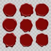 Stamp Wax Seal Vector Icons Set Of Red Sealing Wax Old Realistic Stamps Labels On Transparent Backgr poster