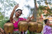 traditional Thai folk dance with traditional thai northeastern music instrument (Pongrang)