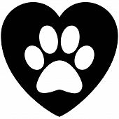 Black And White Paw Print Heart - A Vector Cartoon Illustration Of A Paw Print On A Heart. poster