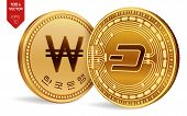 Dash. Won. 3d Isometric Physical Coins. Digital Currency. Korea Won Coin. Cryptocurrency. Golden Coi poster