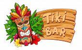 Tiki Tribal Wooden Mask. Hawaiian Traditional Character. Hawaii Bar Symbol. Tradition Cartoon Sculpt poster