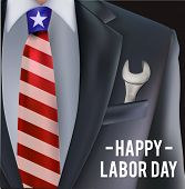 Labor Day In Usa Vector Greeting Card With Man In Suit With Tie And Tool Key In The Pocket As A Symb poster