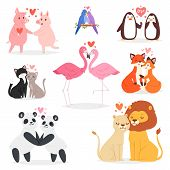 Couple In Love Vector Animal Lovers Characters Panda Or Cat On Loving Date On Valentines Day And Fla poster