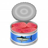 Tuna Canned Goods Mockup. Realistic Illustration Of Tuna Canned Goods Mockup For Web Design Isolated poster