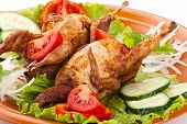 picture of quail  - Two fresh grilled whole quail with cucumber - JPG