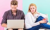 Feeling Lonely Near Him. Woman Sad Face Sit Near Man With Laptop. Girl Feels Sadly Man Not Pay Atten poster