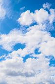 Blue Sky Background With White Dramatic Clouds In Sunny Weather. Sky Landscape Scene. Sky Landscape  poster