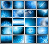 picture of blue  - Big set of blue technical backgrounds - JPG