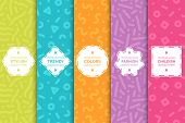 Set Of Colorful Seamless Creative Patterns. Bright Trendy Backgrounds In Memphis Style. Fashion Desi poster