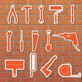 Vektor-Illustration von Tools an der Wand