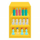 Shelves In Shop With Chemicals Icon. Cartoon Illustration Of Shelves With Chemicals Icon For Web poster