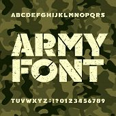 Army Stencil Alphabet Font. Grunge Bold Letters And Numbers On Military Camo Background. Vector Type poster