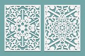 Die And Laser Cut Ornamental Panels With Snowflakes Pattern. Laser Cutting Decorative Lacy Borders P poster