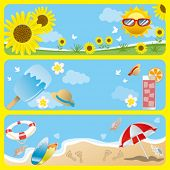 Summer banner set. Illustration vector.
