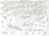 Maple Tree, Falling Maple Leaves Sketch, Umbrella Monochrome Romantic Background Lettering Hello Lov poster