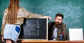 Teacher Strict Sit Table Chalkboard Background. Student In Mini Skirt With Nice Buttocks Stand Near  poster