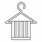 Striped Scarf On A Coat Hanger Icon. Outline Illustration Of Scarf On A Coat Hanger Icon For Web poster