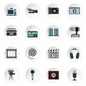 Audio And Video Icons Set. Flat Illustration Of 16 Audio And Video Icons For Web poster