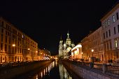 Night view of Griboyedov Canal in St.Petersburg, Russia