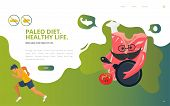 Dietology Concept Vector Illustration: The Paleolithic Or Paleo Diet, Known As Caveman Or Stone-age  poster