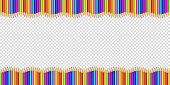 Vector Double Wavy Border Made Of Colored Wooden Pencils Row Isolated On Transparent Background. Bac poster