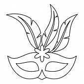 Festive Carnival Mask Icon. Outline Illustration Of Festive Carnival Mask Icon For Web poster