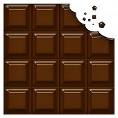 Chocolate bar with a bite missing