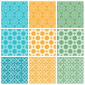 A set of nine seamlessly tiling patterns in trendy colors. All design are seamless and